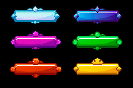 Set of colorful bright glossy crystal buttons. Beautiful buttons for a game or menu. Illusztráció