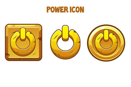 Set of gold power icons of different shapes. Power buttons for the game, menu, interface.
