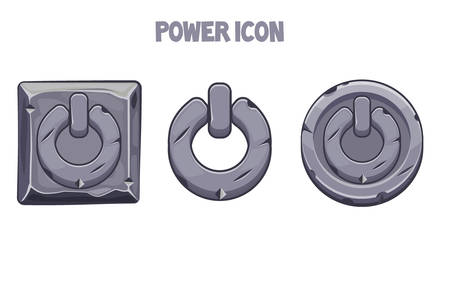 Stone power icons of different shapes for the menu.