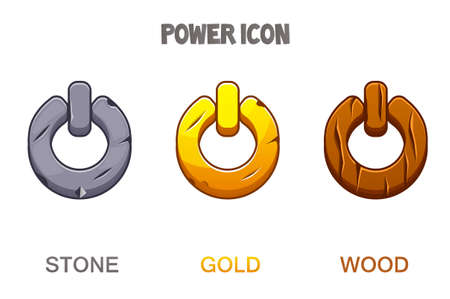 Set of buttons or icons power golden, stone, wooden.