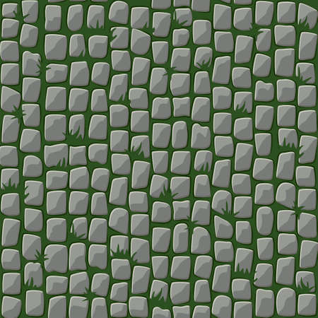 Seamless pattern of cobblestone street paving with grass.