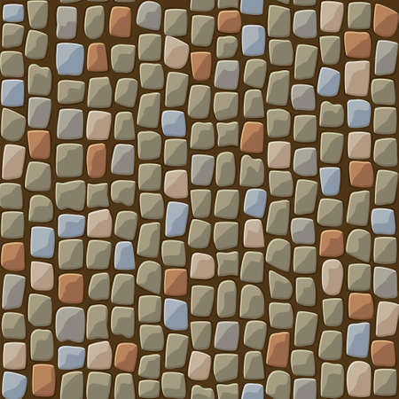 Seamless textured pattern of cobblestone paving of a park.