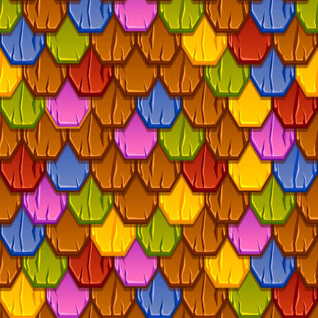 Seamless pattern of colorful geometric tiled roofs.