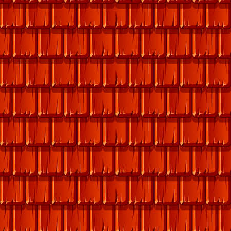 Seamless texture background of red wooden roof in a row. Stock Illustratie