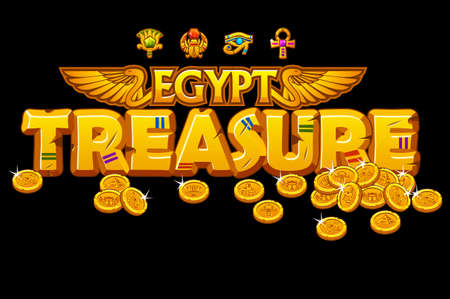 Golden inscription treasures of Egyptian culture and signs.