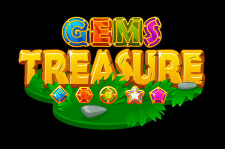 Treasures and gems on an isometric grass platform.
