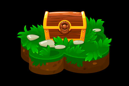 Treasure chest on island isometric platform grass. Treasure Island on the ground with grass for the game. Illustration