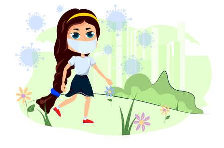 The girl walks in nature and an epidemic of coronavirus.
