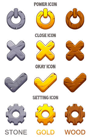 Set of icons for the game checkmark, options, ok, power.