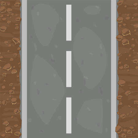 Seamless pattern textured road and land with stones. 向量圖像