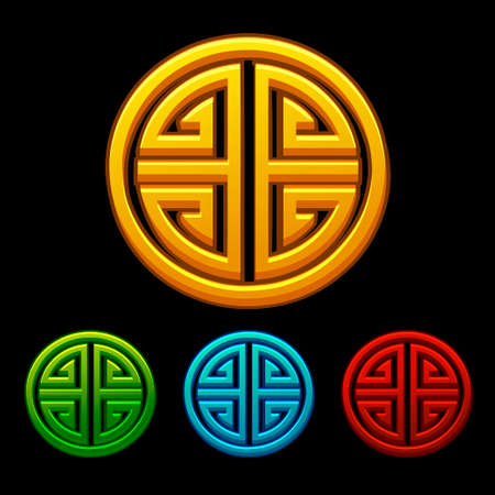 Set of icons of Chinese characters good luck four blessings.