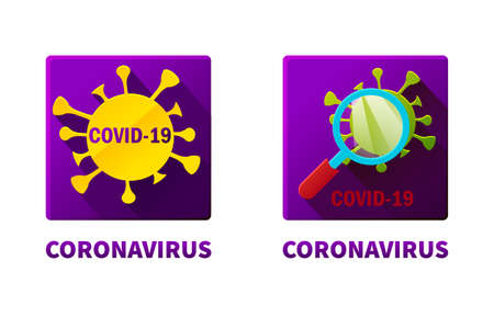 Flat square icons of covid-19 virus under magnifying glass. Coronavirus epidemic lettering