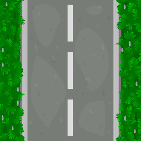 Seamless pattern of asphalt road with grass. Textured road paths along grass covered with grass.