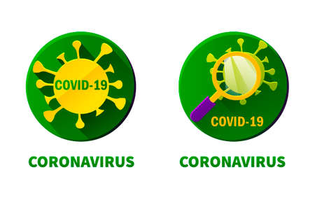 Round flat icons of coronavirus and virus under a magnifying glass. The inscription  of the epidemic covid-19. 向量圖像
