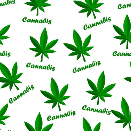 Seamless pattern cannabis herb leaf and lettering.
