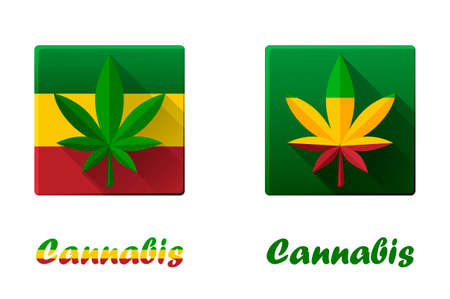 Set of square icons with cannabis, hashish and marijuana.