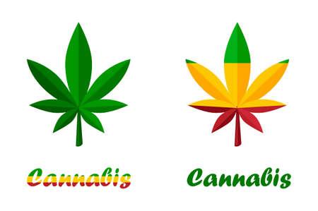 Icons leaves of cannabis herb or marijuana 向量圖像