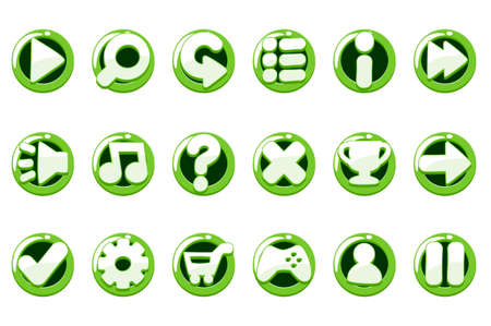 Set of glossy green buttons for graphical interface. Icons for games with different options.