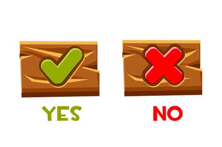 Yes and no buttons for an interface on a wooden old board.