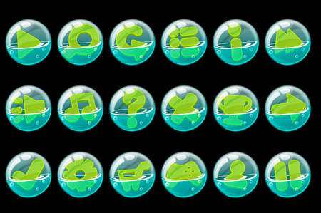 Set of green buttons in soap bubbles for the interface. A collection of bubbles with options for the game.