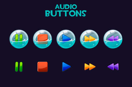 A set of bright buttons in soap bubbles for playing audio. 向量圖像