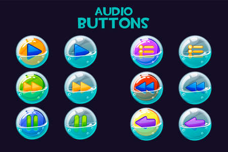 A collection of bright multi-colored audio buttons in soap bubbles. 向量圖像