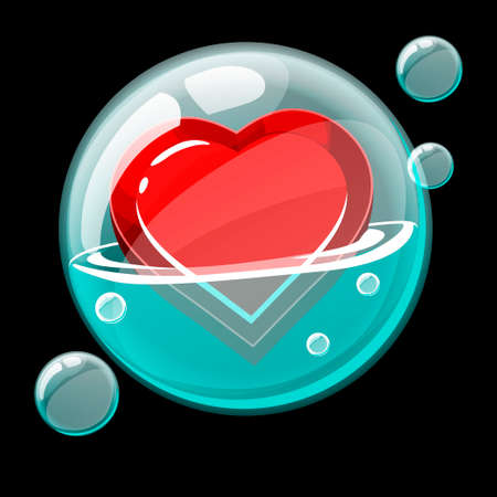 Red heart icon in a big soap bubble. 向量圖像