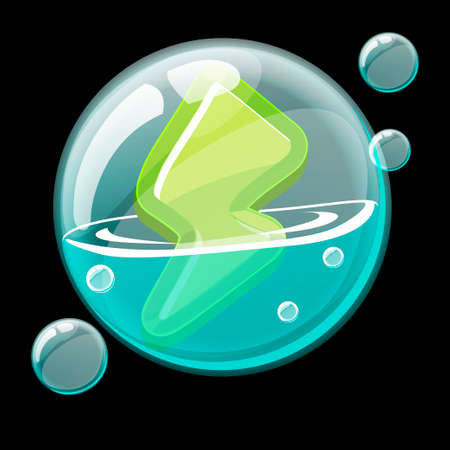 Green energy icon in a soap bubble.