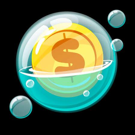 Gold coin icon in a big soap bubble.