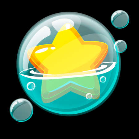 Cute yellow star in a big soap bubble. 向量圖像