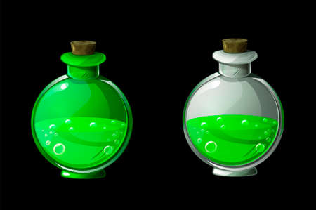 Set green magic potion or poison in bottles.