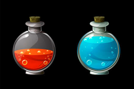 Set of bright magic potions in glass bottles.