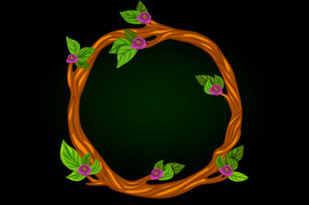 Vector illustration of a round flowering wreath of branches.