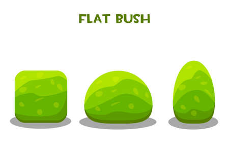 Vector isolated green garden bushes in flat style.