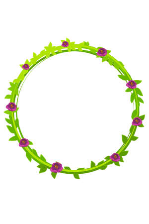 Vector illustration of a round green flowering wreath.