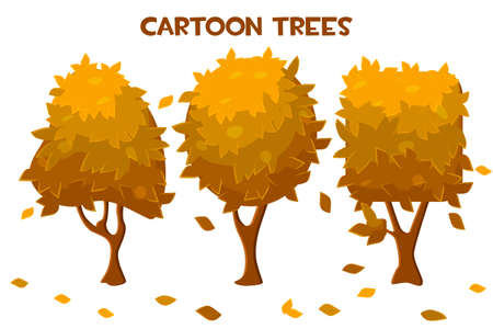 Set of vector isolated cartoon autumn trees and leaf fall. 向量圖像