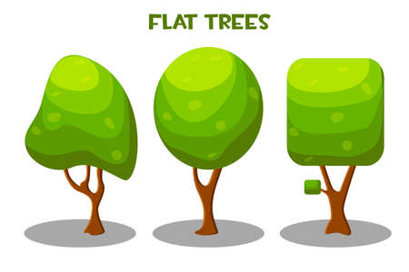 Vector isolated green trees in flat style. 向量圖像