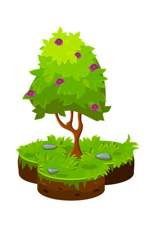 Vector illustration of an isometric cartoon tree and a plot of soil. Infographics of a flowering tree and land with grass and stones. 向量圖像