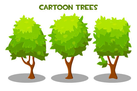 Vector illustration of a set of green trees of different shapes. 向量圖像