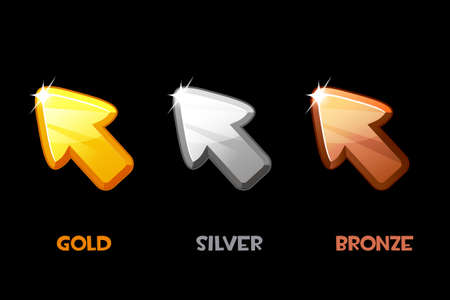 Vector isolated golden, silver and bronze arrows. Illustration of a set of metal cursors for a game.