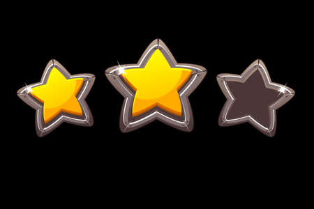 Collection of vector isolated metal stars for rating a game. Set of metal stars for the app game. 向量圖像