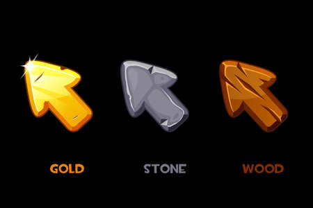 Collection of vector isolated old cursors or arrows. Retro beaten arrows wooden, stone and gold.
