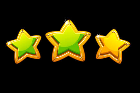 Vector illustration of golden stars rating game. Set isolated green stars for the game.