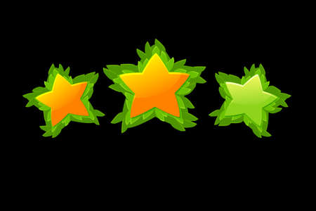 Set of vector decorative star rating game from leaves. 向量圖像