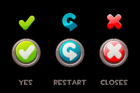 Set of vector isolated buttons and icons yes, restart, close.