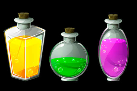 Set of vector isolated magic potions in glass bottles. Poison Icons or elixir in flasks different shapes.