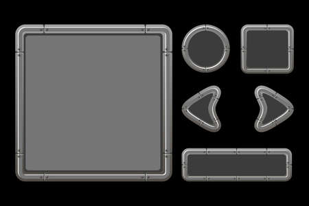 Vector game ui kit. Template metal menu of graphical GUI and buttons.