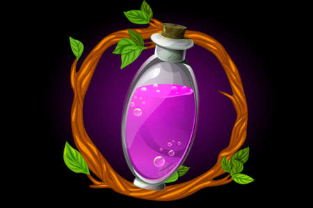 Vector round wreath of twigs and magic potion in a bottle. GUI illustration of an elixir in a flask for a game.
