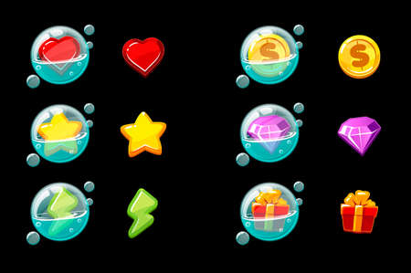 Set of vector isolated game icons in bubbles.