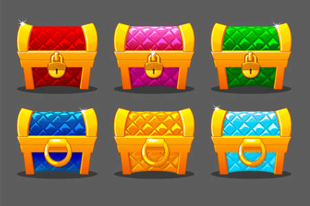 A set of brightly colored gold soft chests for the game.